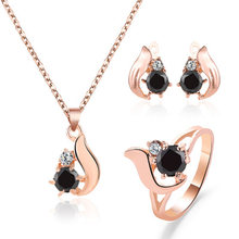 New Vintage Obsidian Necklace Earring Rings Set For Women Gold Color Water Drop Jewellery Set Wedding Party Decoration(China)