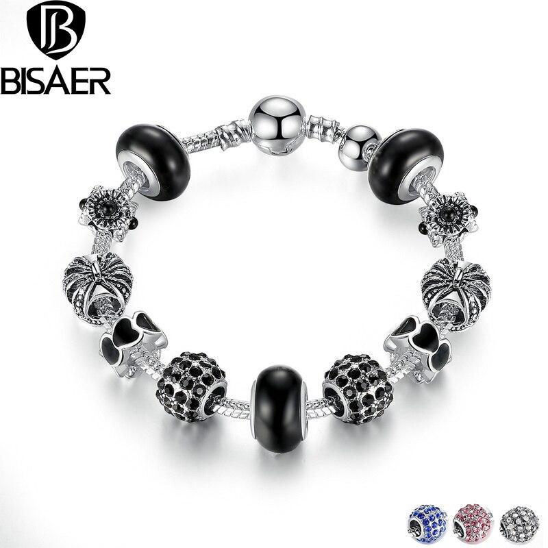 Crown Charm Bracelet: Black Royal Crown Silver Charm Bracelet & Bangle With