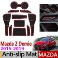 Anti-Slip Tor Slot Matte Gummi Tasse Matten für Mazda 2 Demio 2015 2016 2017 2018 2019 DJ Mazda2 zubehör Auto Aufkleber 10 teile/satz