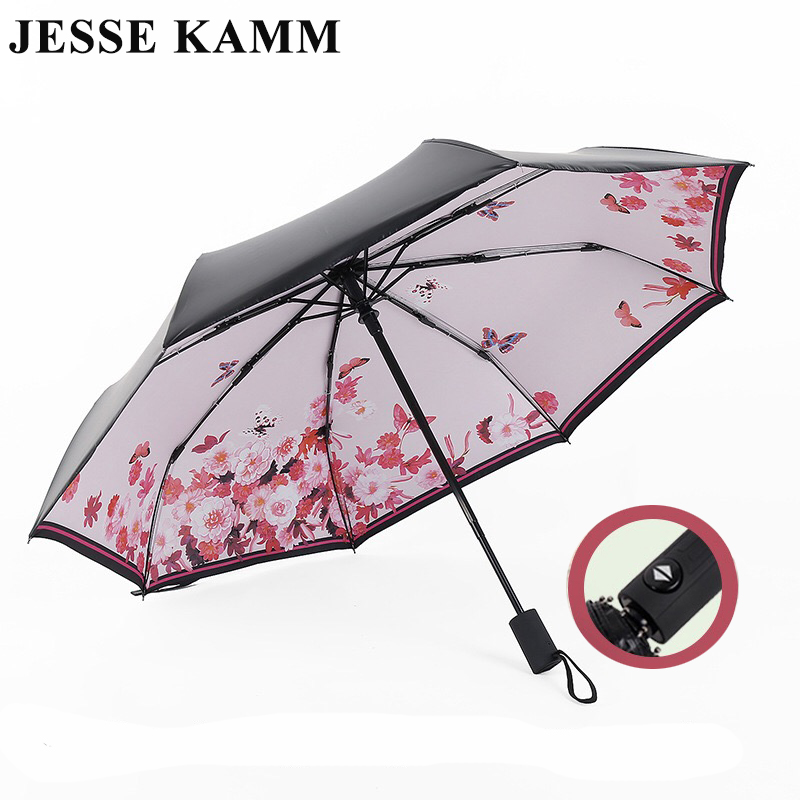 JESSE KAMM Hot Sale New Fully Automatic Anti-UV For Women Gift Fashion 24 Months Warranty Windproof Sun Rain Ladies Umbrellas