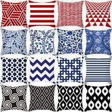 Red Blue Black Geometric Plaid home decor cushion cover sofa Morden Polyester Printed Pillow Case Plain Squarethrow pillow case цены
