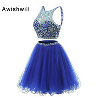 Royal Blue Two Pieces Cocktail Dress For Graduation Real Photos Beadings Tulle Short Party Dress Open Back Gala Dresses