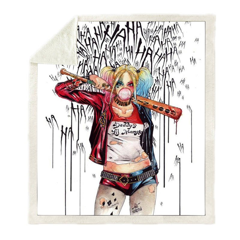 Suicide Squad Harley Quinn 3D Print Sherpa Blanket Sofa Couch Hiking Picnic Quilt Cover Bedding Throw Fleece Blanket-1