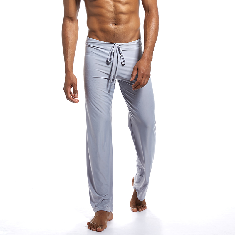 Men Long Yoga Pant Thin Pajamas Trousers Soft Sexy Summer Breathable For Home FDC99