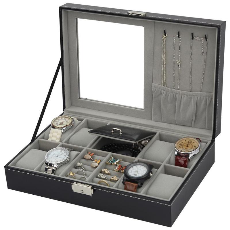 Multifunction High Quality Jewelry Box Black PU Leather Watch Display Box High-end Watch Rings Bracelet Jewelry Storage