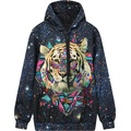Women's Hoodie 2016 new Galaxy Tiger Print Hooded Sweatshirt Pocket Top Woman Casual Pullover Hoody Female Sudaderas Mujer Black