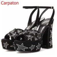 New Arrival Sexy Women Peep Toe Sandals Faux Suede Black Shinny Five Stars Platform Cross High