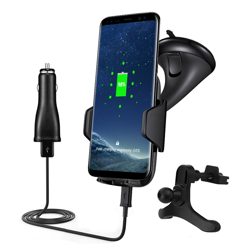 Qi Wireless Charger Phone Mount Holder Fast Charging Car Charger For Samsung Iphone X 8Plus Dashboard Air Vent Wireless Charger