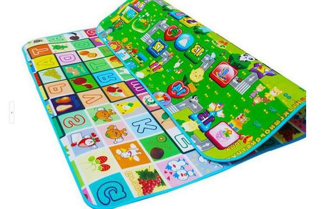 New Doulble-Side Baby Play Mat 2*1.8m*0.5cm Fruit Letters And Zoo Beach Picnic Carpet Crawling EVA Mat Learning & Education