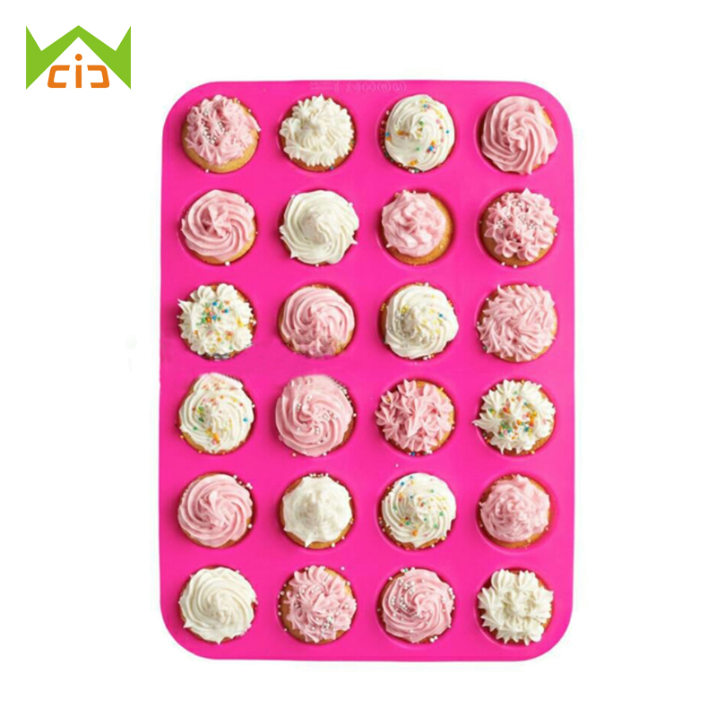 WCIC 24 Cup Round Silicone Pans Form Muffin Biscuit Pancake Cupcake Baking Pan Non-Stick Tray Mini Muffin Cups Cake Mold