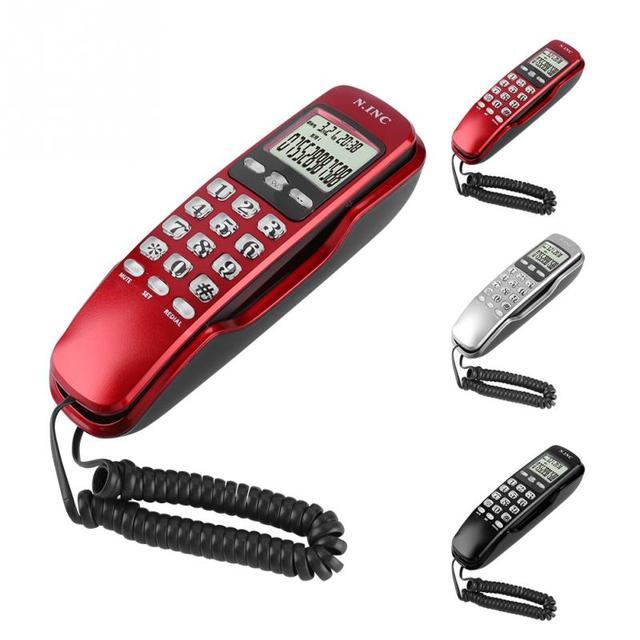 Mini telefone de parede home office hotel entrada caller id display lcd telefone fixo novo