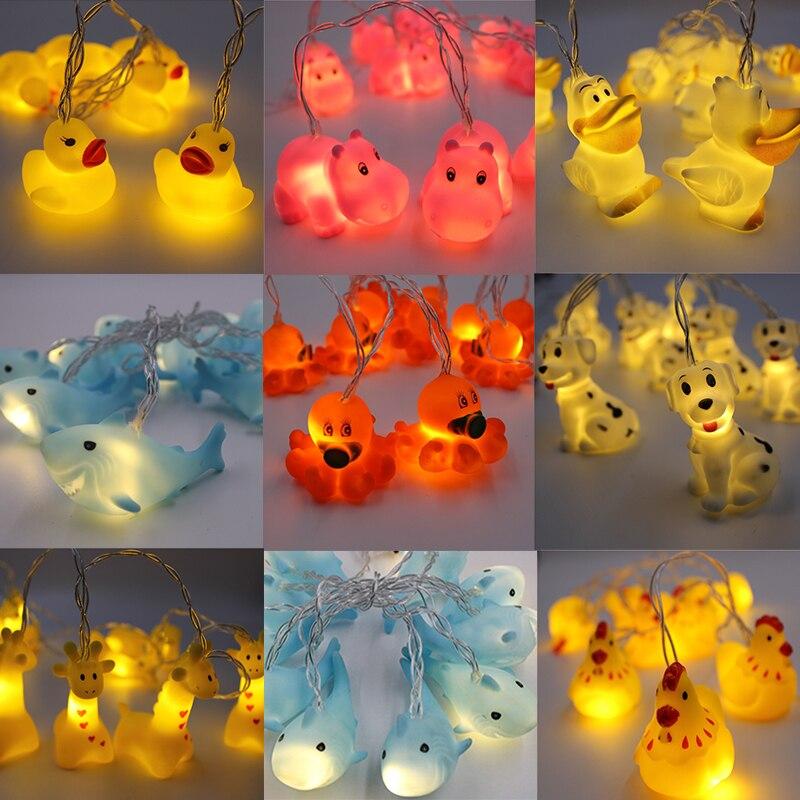 New Korean Led Night Light 1.5M Animal Lamp String Kids Room Decoration Giraffe Shark Octopus Hippo Dog Lighting AA