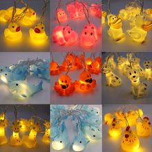 New Korean Led Night Light 1.5M Animal Lamp String Kids Room Decoration Giraffe Shark Octopus Hippo Dog Lighting AA