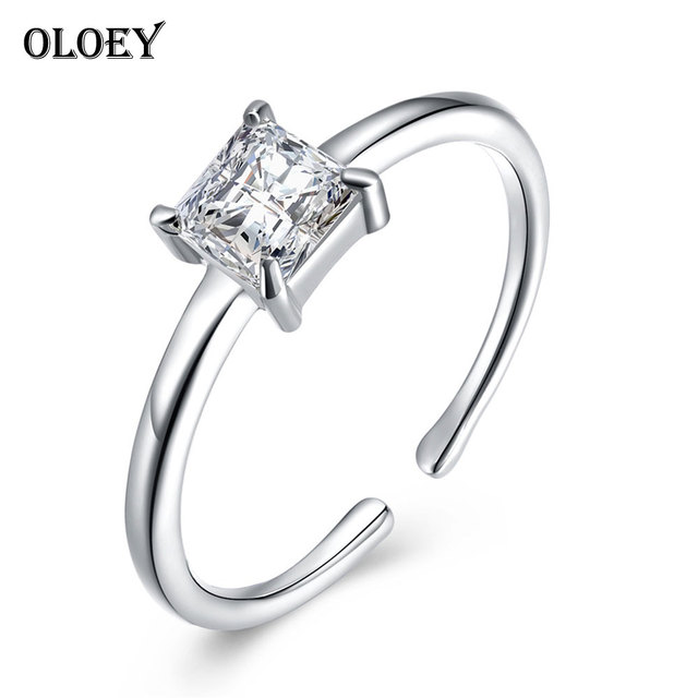 OLOEY Real 925 Sterling Silver Rings for Women High Quality Princess Cut Clear Z