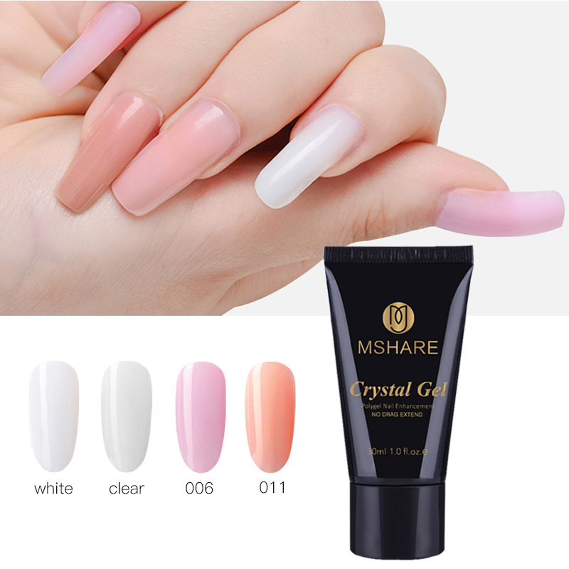 MSHARE Crystal Gel Quick Building Jelly Poly Gel Polygel Nail Gel UV LED Hard Gel Acrylic Builder Clear Pink Tube White 30g ibd конструирующий камуфлирующий розовый гель 5 ibd traditional uv gel led uv builder gel pink v 18017 56 г page 3