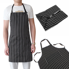2016  Adjustable Adult Black Stripe Bib Apron With 2 Pockets Chef Waiter Kitchen Cook