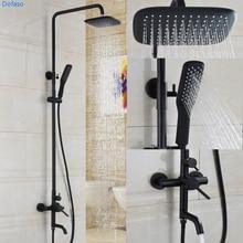 Dofaso oil black shower faucet  Bathroom 8 Waterfall Rain Shower Head Brass Gold Black Chrome Exposed Faucet Set
