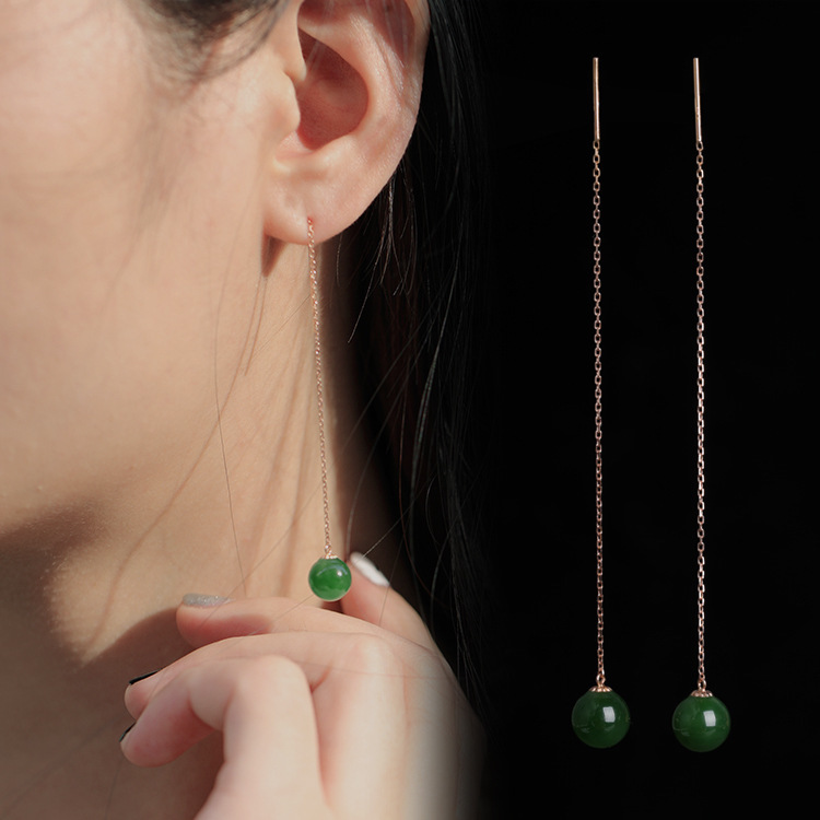 2019 Direct Selling Real Fairy Brinco National Wind Jade Beads Earrings 8 Mm Long With Certificate Of 18 K Rose Hetian Ear Wire