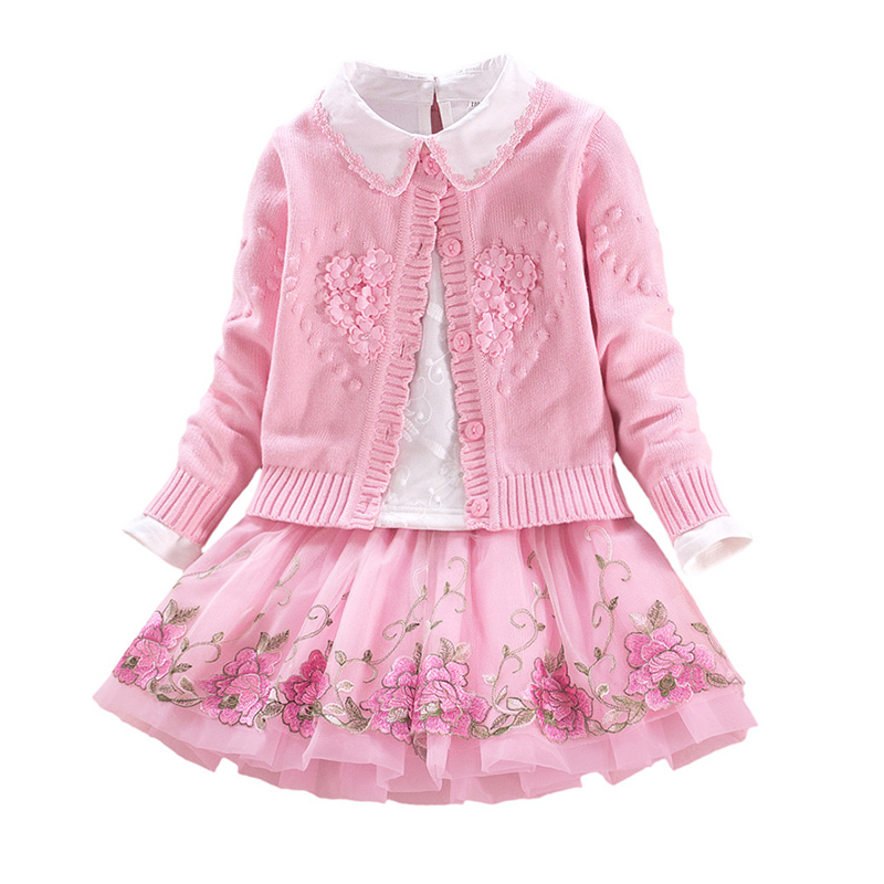 Children`s Winter Clothes Set Girls Sweater Coat+cotton Blouses+lace Skirt 3pcs Suit Girls Princess Shcool Clothing HIGH QUALITY