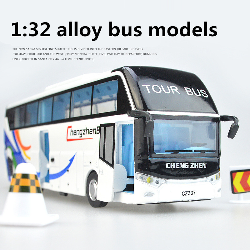 1:32 Alloy Bus Models,pull Back & Flashing & Musical,Large Tourist Bus,metal Diecasts,toy Vehicles,free Shipping
