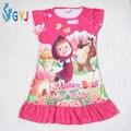 Ночь платье девушки маша маша и медведь пижама дети пижамы девушки ночной сон платье Мультфильм хлопок ночь платье для дети