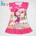 Рубашку девушки маша и медведь дети девушки ночные рубашки летняя одежда мультфильм хлопок ребенок дети ночные рубашки для девочек