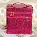 2016 Ladies Double Layer Cosmetic Box Brand Camellia Makeup Case Women Tote Travel Storage Bag Vanity Case Organizer Beauty Case