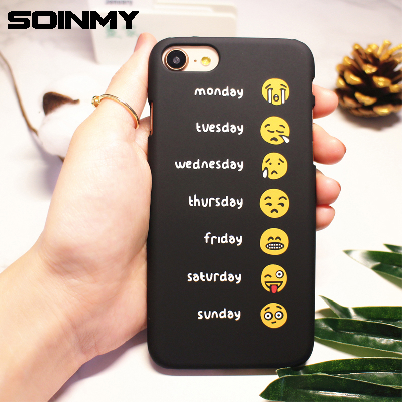Soinmy For iphone 7 case cute Emoji one week mood funny back cover case for iphone 6 6s case for iphone x fundas 7 8 plus coque