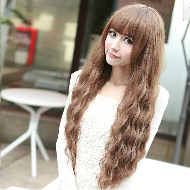 Cheap Full Lace Wigs Long Bangs Synthetic Curly Hair Cosplay Lace