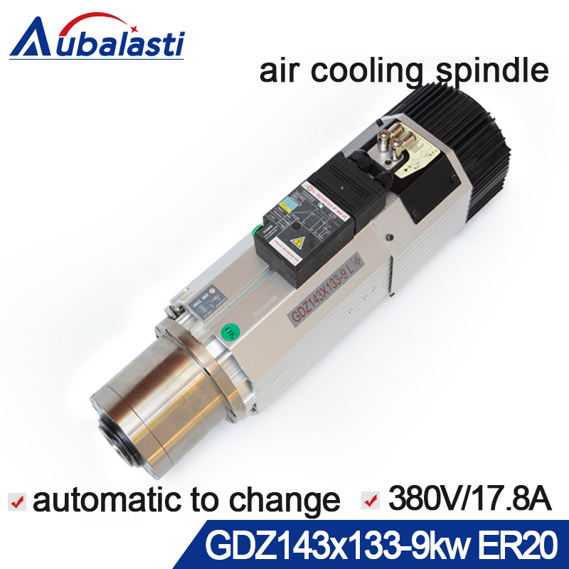 cnc spindle 9KW air cooled automatic tool spindle woodworking 220v 380V machine tool spindle for CNC milling router machine hsk63a er25 100l high speed automatic tool change device spindle cnc milling machine tool