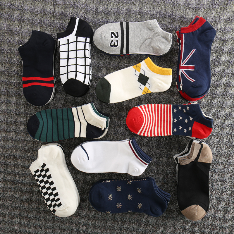 Multi-style Men's Cotton Low-cut Short Tube Socks