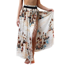 Gladiolus chiffon summer women long skirt 2019 floral printing split tassel bohemian sexy skirts  vacation beach