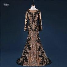 정장 저녁 파티 (YASA-1084)에 대 한 기차와 높은 품질 긴 소매 레이스 Applique 긴 Zuhair 무 랏 드레스
