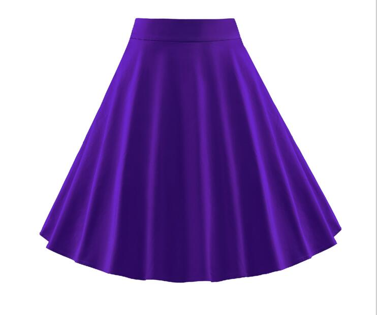 50s Solid Cotton Skirt Fashion Women Plus Size Retro Casual Vintage High Waist Skater Skirt Rockabilly skirt S-3XL