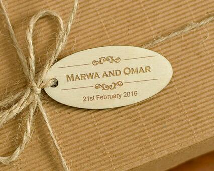 personalized engraved natural wooden rustic wedding new year gift favor tags labels party bridal shower decorations