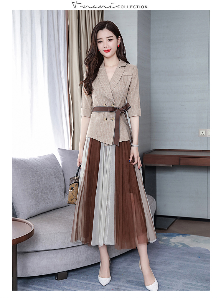 2019 Two Piece Sets Outfits Women Office Suit With Belt And Pleated Skirt Suits Vintage Korean Ladies 2 Piece Sets Femme 39