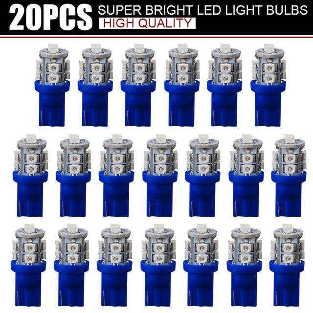 20 PCS Super Bright Blue 12V Led Blulbs For Cars Wedge 10 SMD Dome Map Cargo Interior Light Signal lamp Car Accessories