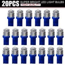 20 pièces Super lumineux bleu 12V Led Blulbs pour voitures cale 10 SMD dôme carte Cargo lumière intérieure Signal lampe voiture accessoires