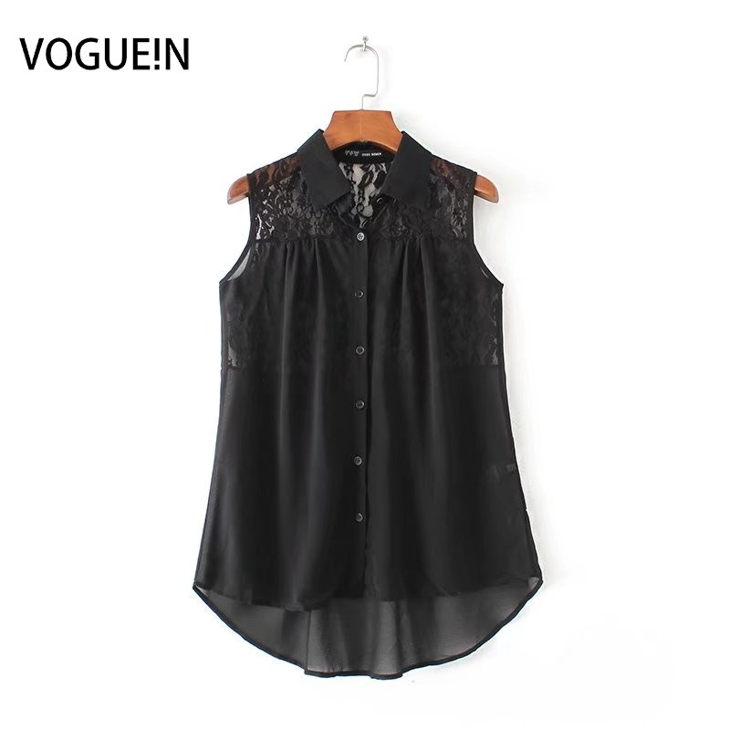 VOGUE!N New Womens Sexy Lace Mix Black/White Sleeveless Button Down Shirt Blouse Tops Wholesale SML