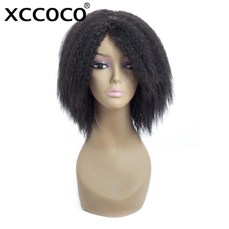 XCCOCO Syntetfiberperor Kinky Rakhår 10 tum 100g 150% Täthet - Syntetiskt hår