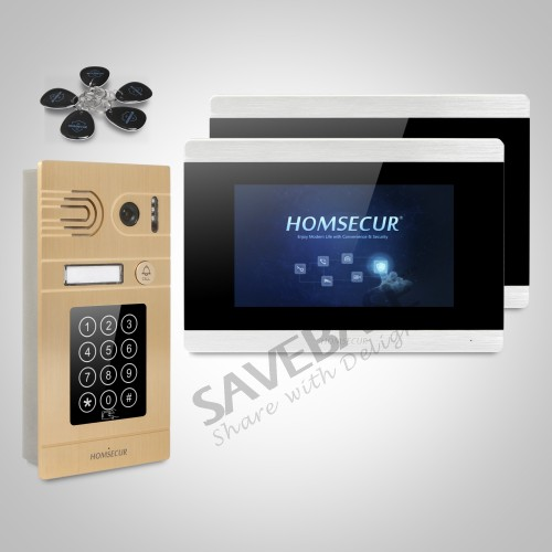 HOMSECUR Waterproof 7 Wired Video Door Phone Intercom System with Aluminium Alloy Camera 800TVL