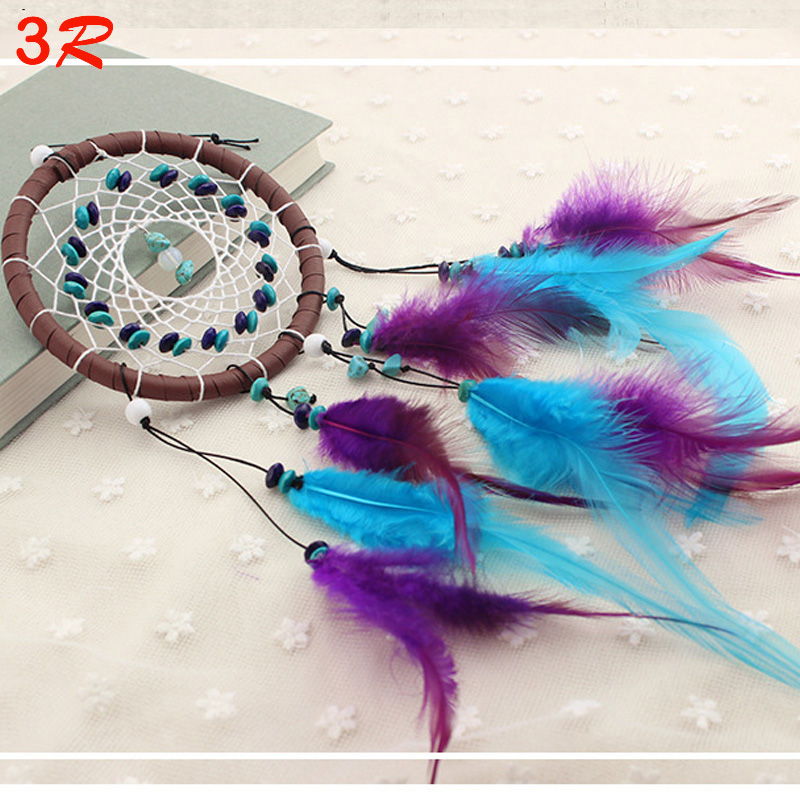 Fashion Car Ornaments Turquoise Dreamcatcher Interior Accessories With Beads Feather Decorative Gift Wholes 10pcs/lot