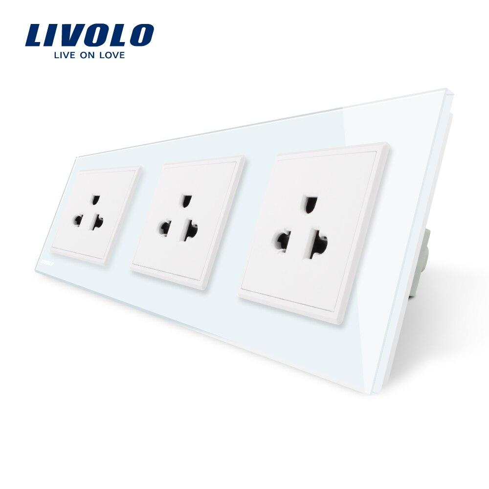 Livolo New US Standard Power Socket, White Crystal Glass Socket , 16A Triple Wall Power Outlet Without Plug,VL-C7C3US-11 livolo us standard 2 pins socket white crystal glass 10a ac 125 230v wall powerpoints with plug vl c3c3a 81