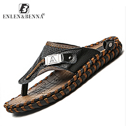 Brand Men's Luxury Flip Flops 2018 Genuine Leather Slippers Summer Beach shoes For Men Fashion Outdoor Sandals Male Plus Size 48