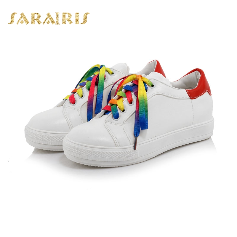 8cf22069f SARAIRIS/большой Размеры 33-44 красочные обуви кружева кроссовки на  шнуровке круглый носок резиновая
