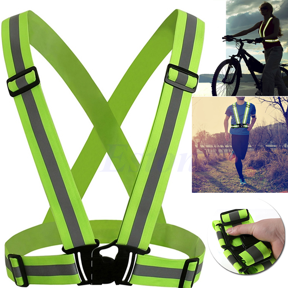 Adjustable Safety Security High Visibility Reflective Vest Gear Stripes Jacket Night Running