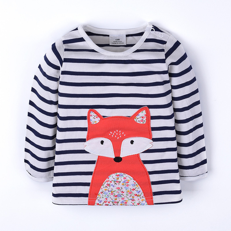 Girls new striped t shirt hot long sleeve autumn winter t shirt baby girls clothes applique a cartoon fox kids top t shirt 2018 contrast striped petal sleeve dip hem shirt