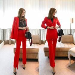 Новые модные женские красные двубортные Тонкий похудения женский костюм из двух-Костюм из нескольких предметов (куртка + Штаны) женский