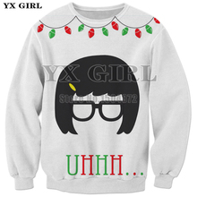 YX Girl Brand Unisex Christmas Sweatshirt Gift for Women Men 3d Print Glasses Crewneck Sweatshirts Autumn Pullover Tops