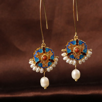Palace luxurious antique hollow three leaf purse natural freshwater pearl earrings